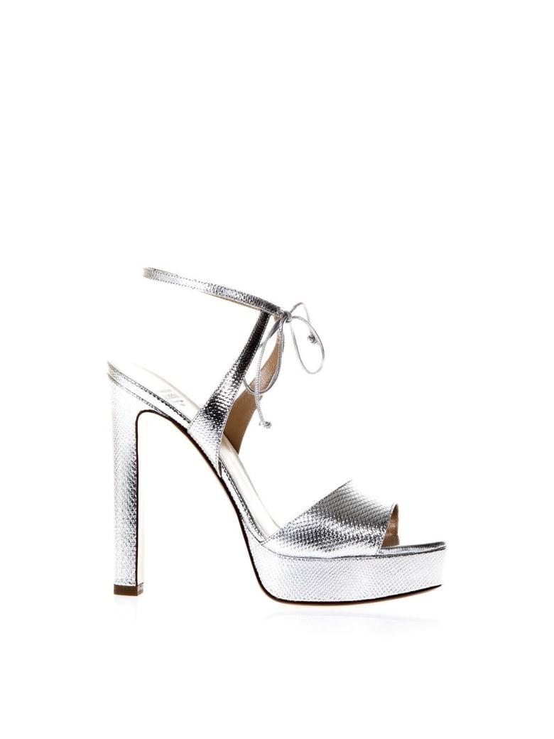 Francesco Russo Silver Snake Effect Sandals - Silver