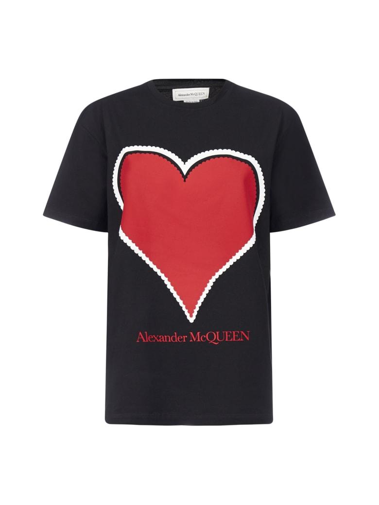 Alexander McQueen Print And Logo Cotton T-shirt - Black