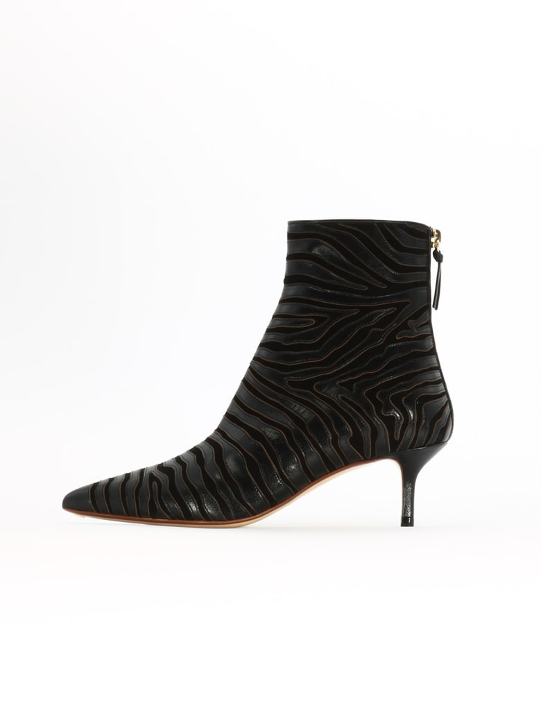 Francesco Russo Zebra Ankle Bootie - Black