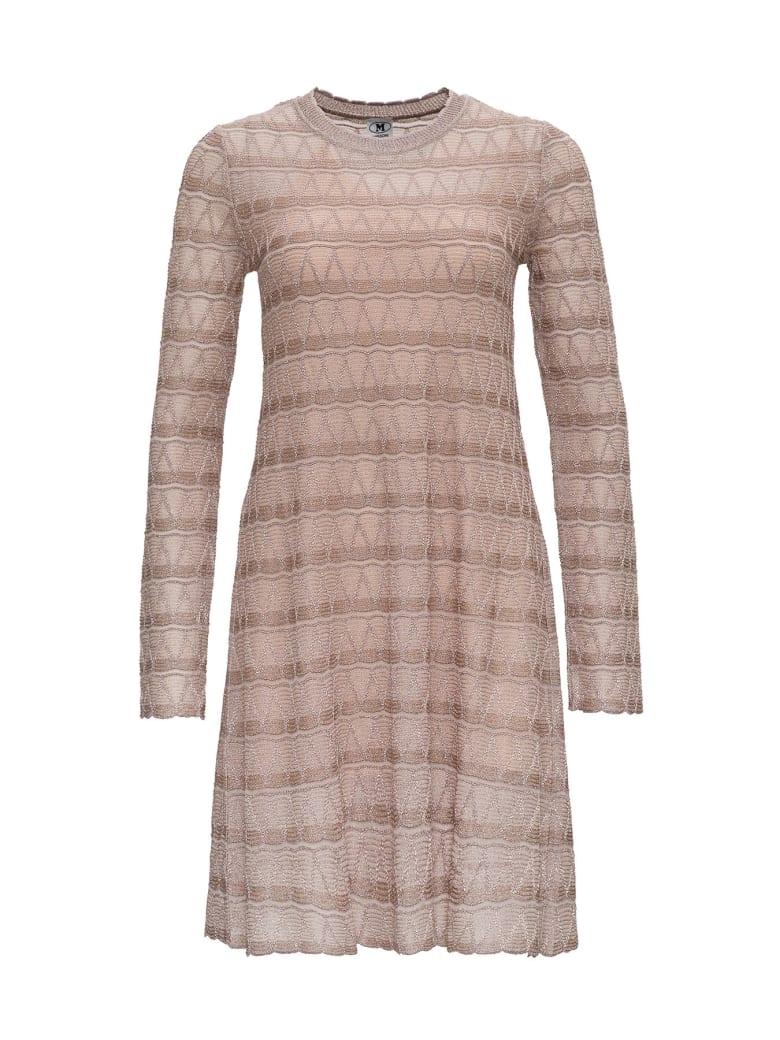 M Missoni Flred Dress In Lurex Knit With Zig-zag Pattern - Beige