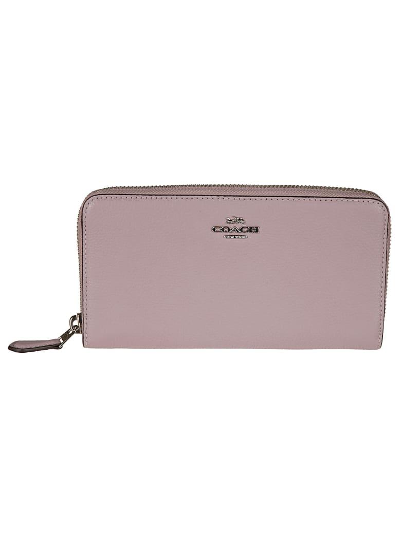 Coach Logo Plaque Zip Around Wallet - Pink