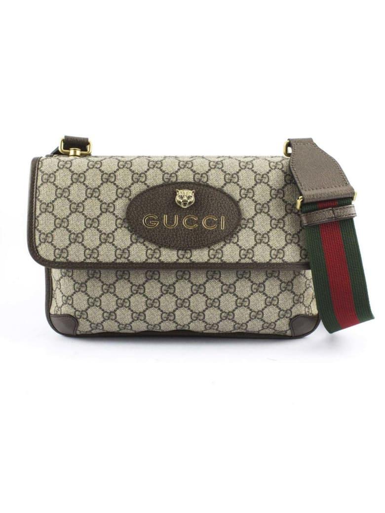 Gucci Gg Supreme Canvas Messenger Bag - Beige