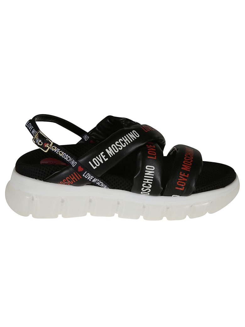Love Moschino Logo Strap Sling-back Sandals - black