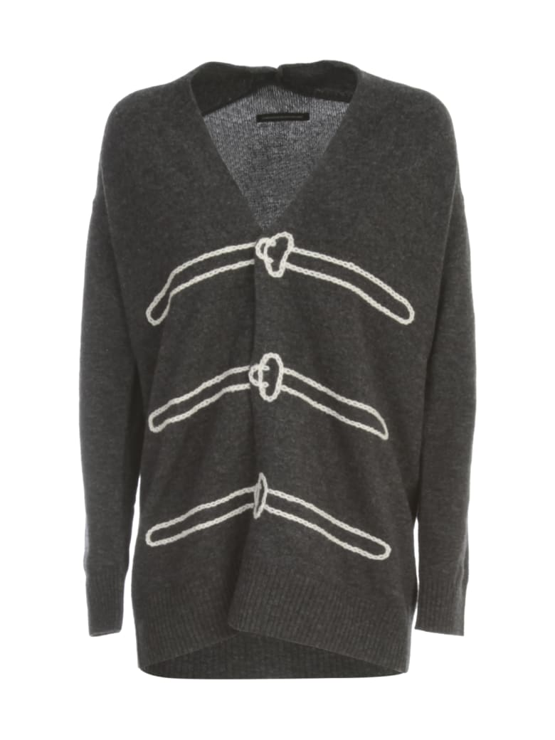 Y's M Trick Art Long Cardigan W/ribbed Bottom And Wrists - Charcoal