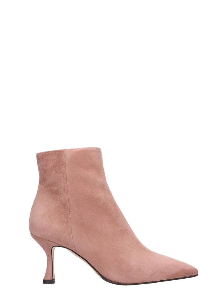 The Seller High Heels Ankle Boots In Rose-pink Suede - rose-pink