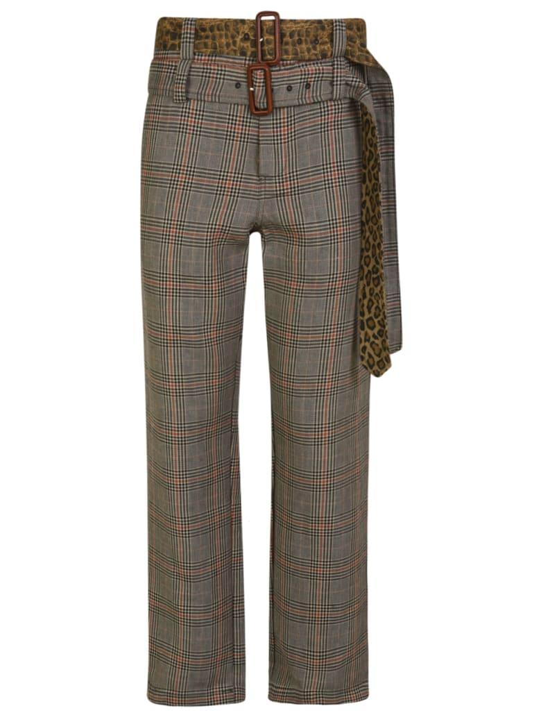 R13 Slouch Double Belt Trousers - Grey/Multicolor
