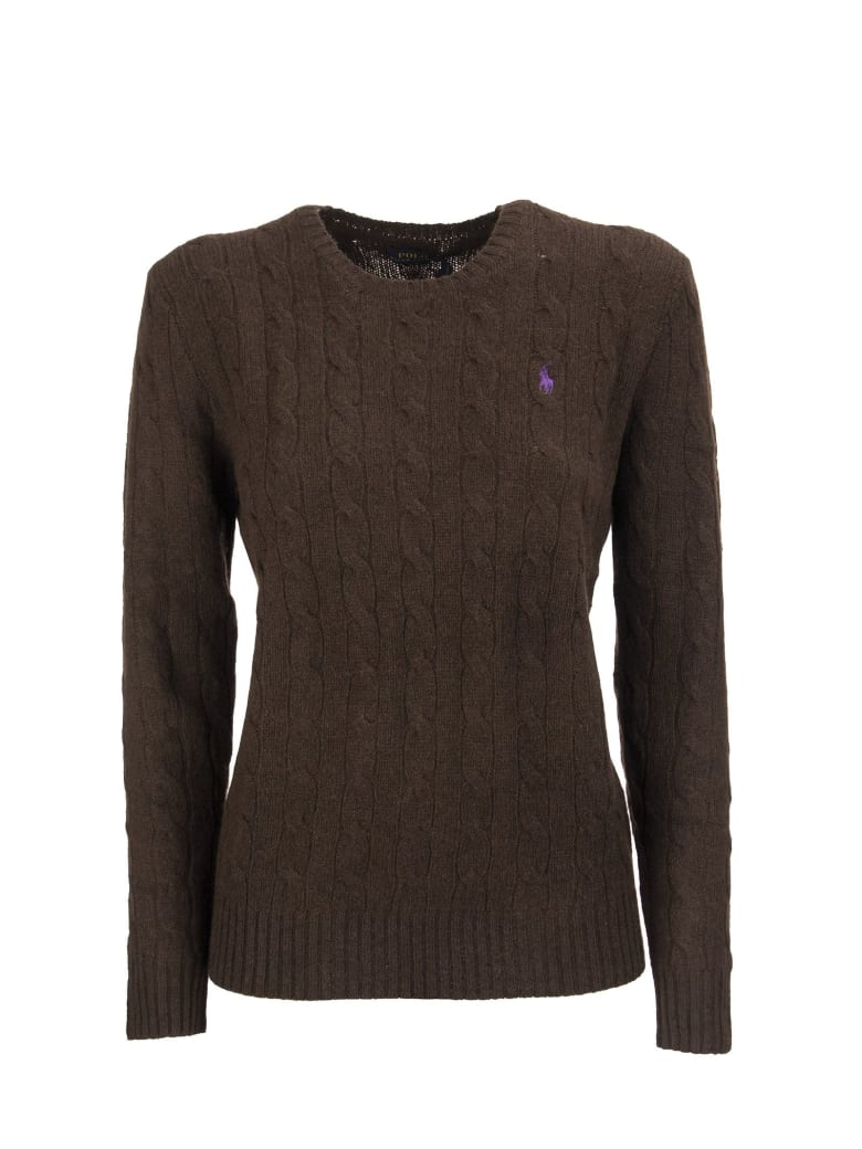 Ralph Lauren Cable Knit Wool And Cashmere Sweater - Brown