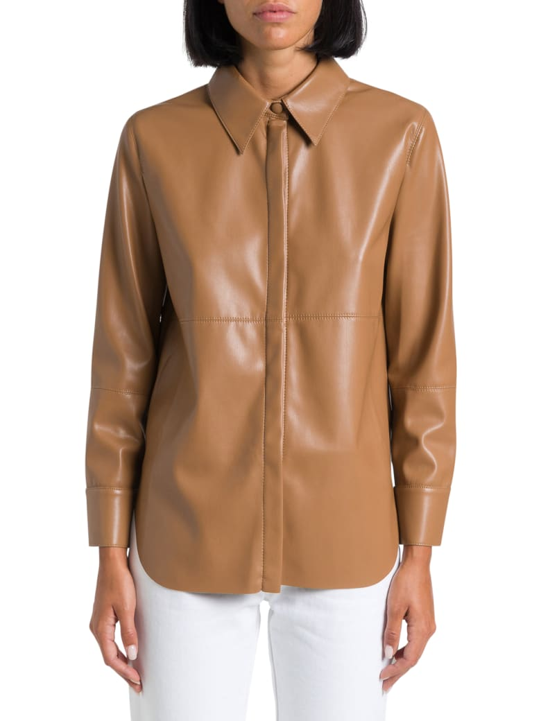 Nanushka Faux Leather Shirt - Marrone