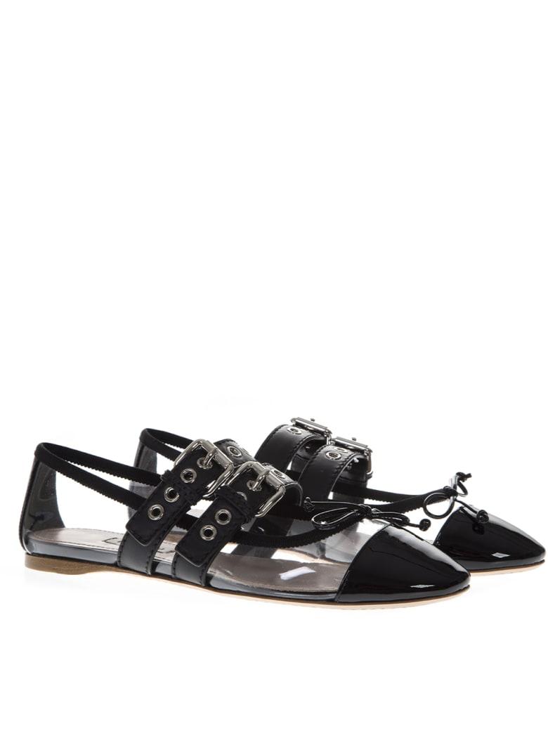 Miu Miu Black Pvc & Leather Pointy Buckled Slippers - Black
