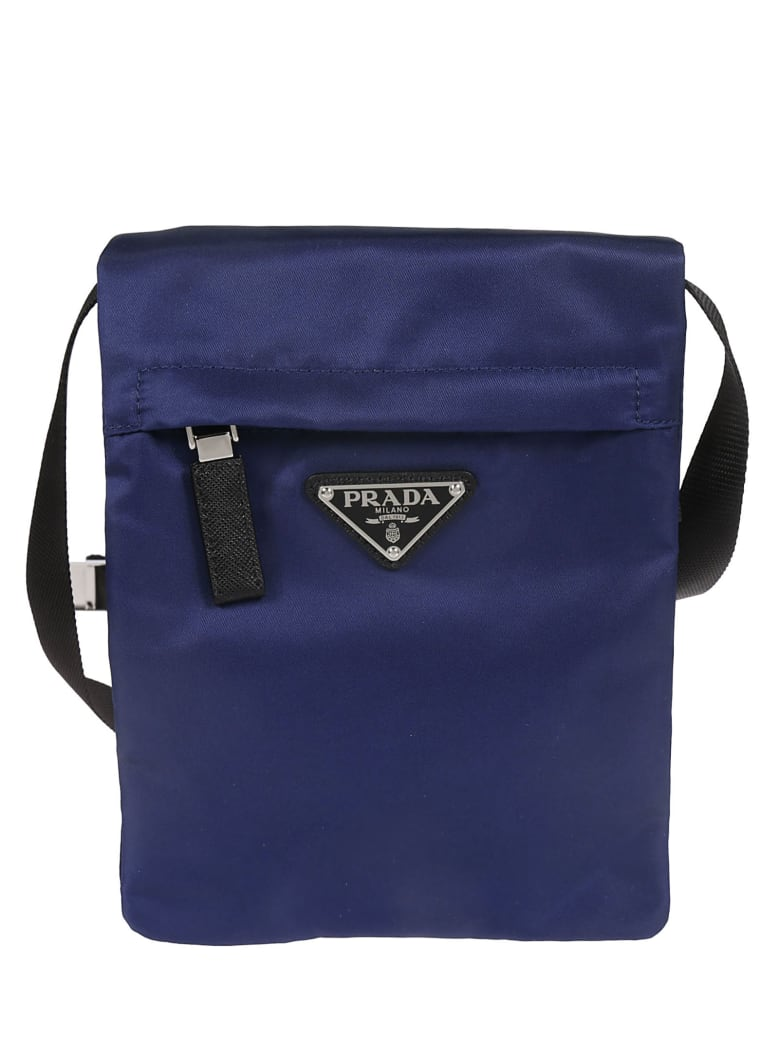 Prada Logo Plaque Boxy Shoulder Bag - Blue