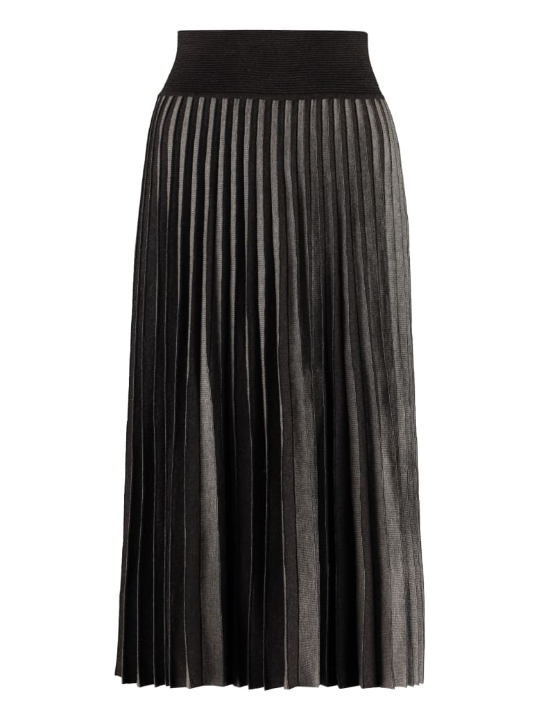 Agnona Pleated Knitted Skirt - grey