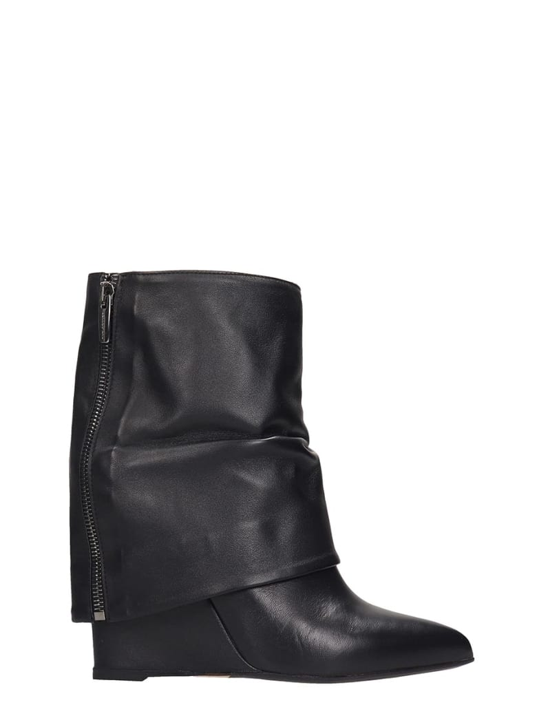 The Seller High Heels Ankle Boots In Black Leather - black