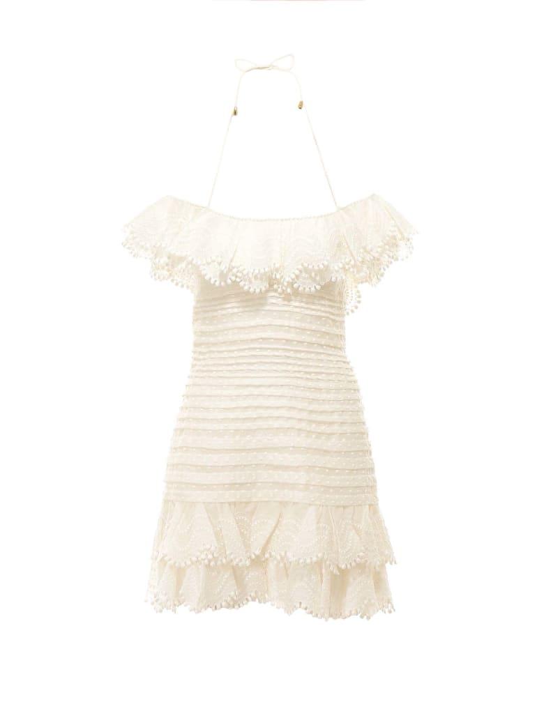 Zimmermann Super Eight Off Shoulder Mini Dress - Beige