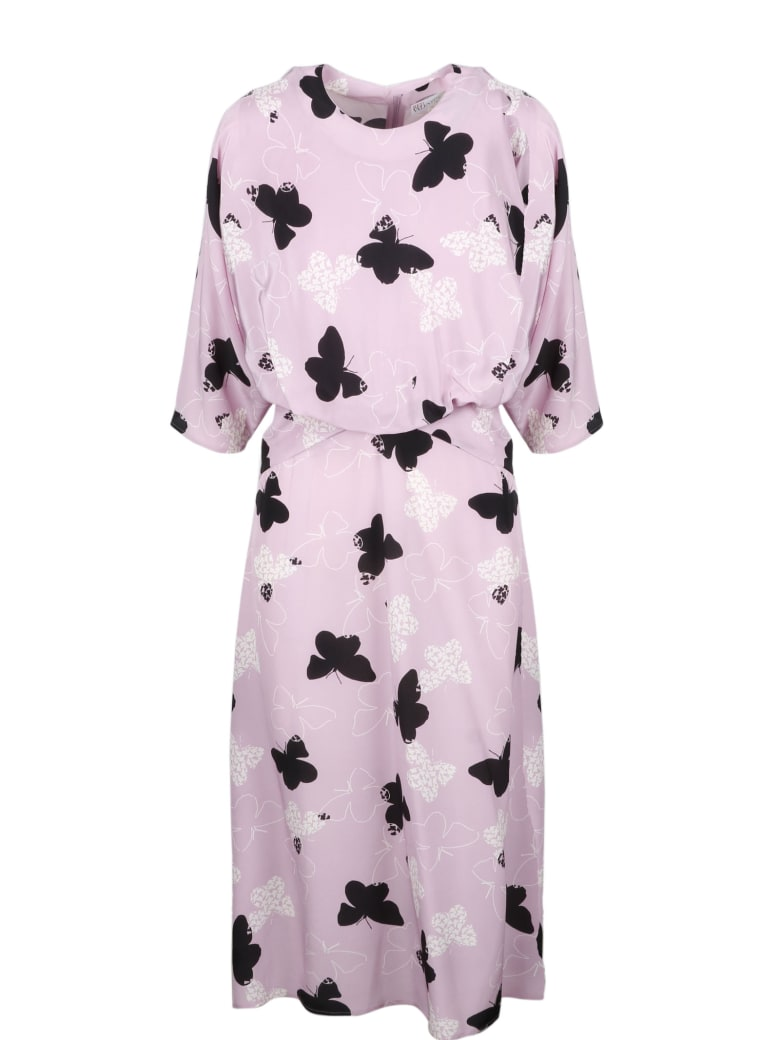 RED Valentino Butterflies Midi Dress - Pink & Purple