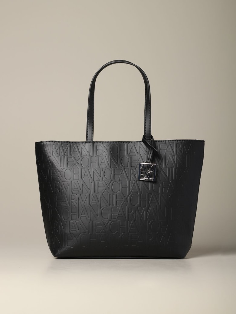 Armani Collezioni Armani Exchange Tote Bags Armani Exchange Shopping Bag In Logoed Leather - black