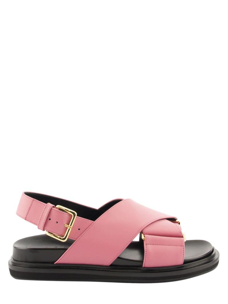 Marni Criss-cross Fussbett In White Leather Sandals - Lipstick