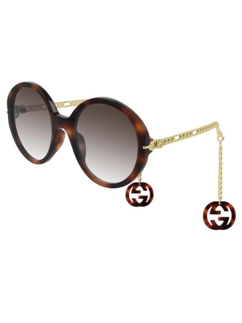Gucci GG0726S Sunglasses - Havana Gold Brown