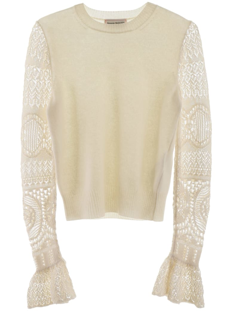 Alexander McQueen Pullover With Crochet Sleeves - IVORY (White)
