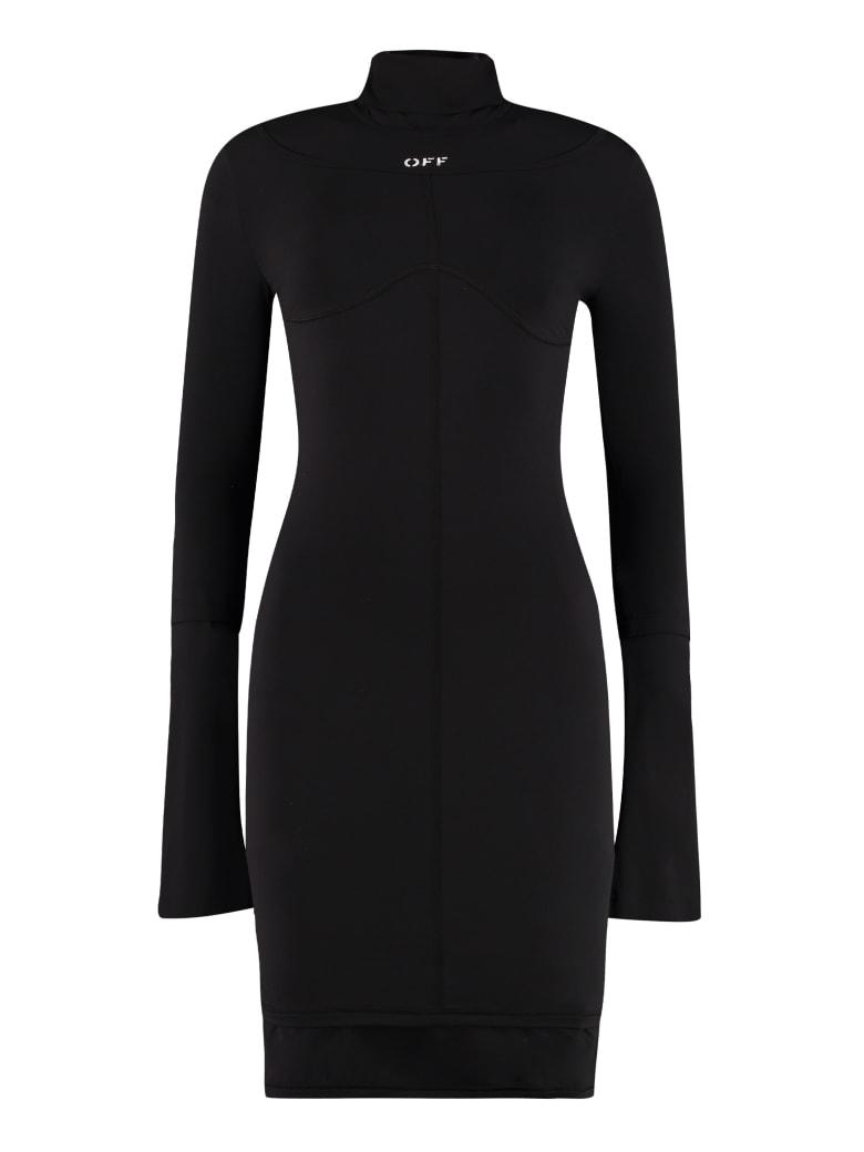 Off-White Technical Fabric Turtleneck Dress - black
