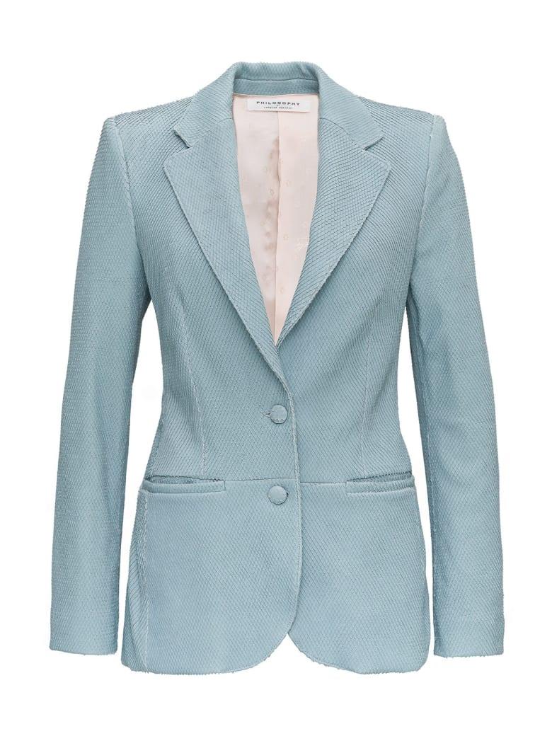 Philosophy di Lorenzo Serafini Single Breasted Leather Blazer - Light blue