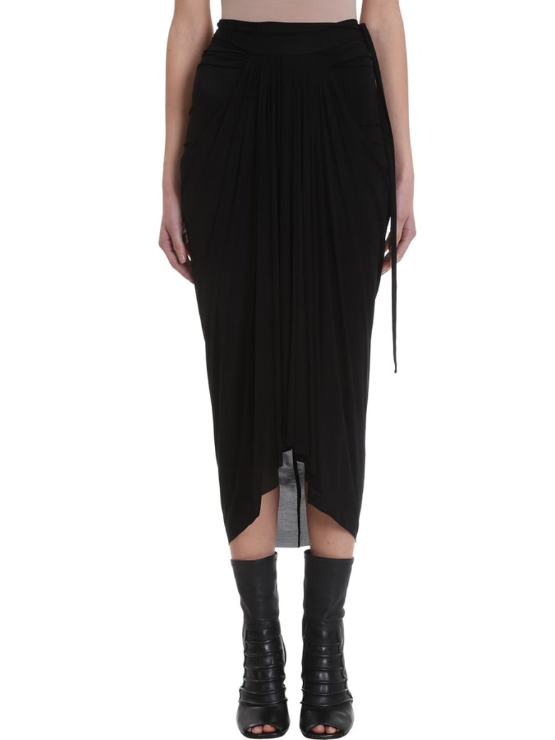 Rick Owens Lilies Black Draped Skirt - black