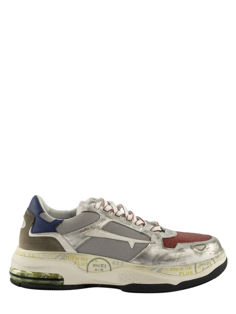 Premiata Drake 016 Sneakers Silver And Red - Silver/red