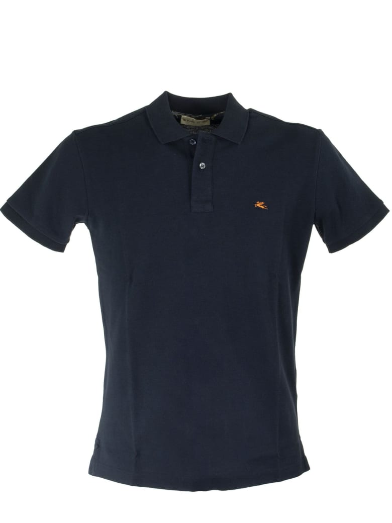 Etro Polo Shirt With Contrasting Undercollar - Blue