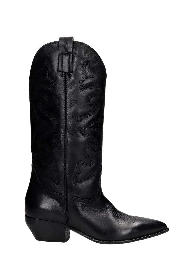 Elena Iachi Texan Boots In Black Leather - black