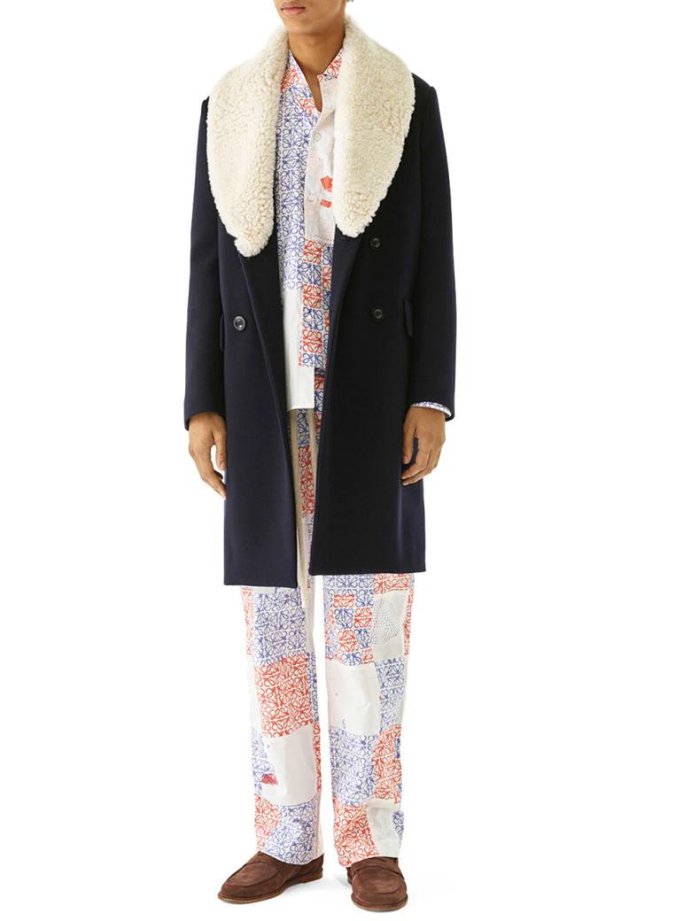 Loewe Shearling Collar Coat - Blue
