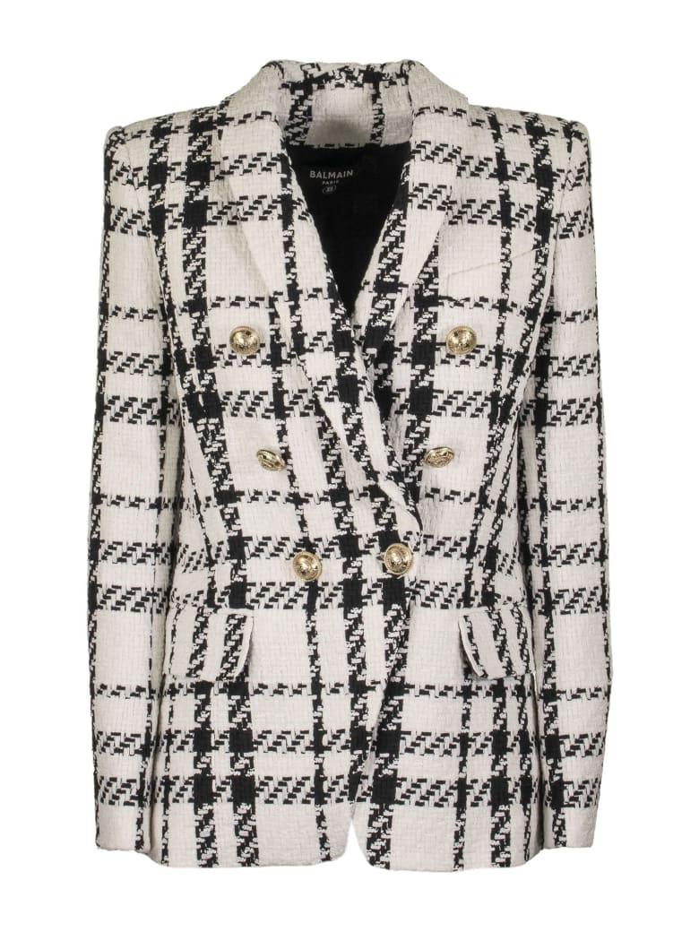 Balmain Jacket Tweed White And Black - White/black