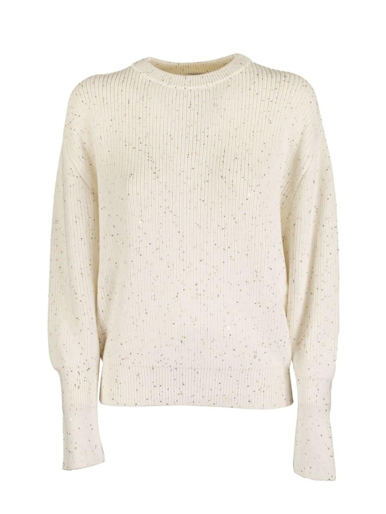 Brunello Cucinelli Crewneck Sweater Cotton And Silk Half English Rib Dazzling Tweed - Bianco