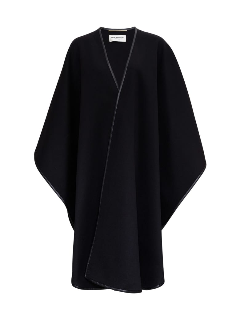 Saint Laurent Woll And Cashmere Blended Cape With Leather Trimming - Black