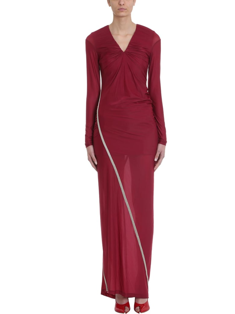 Y/Project Burgundy Condom Contrast-trim Stretch Dress - bordeaux