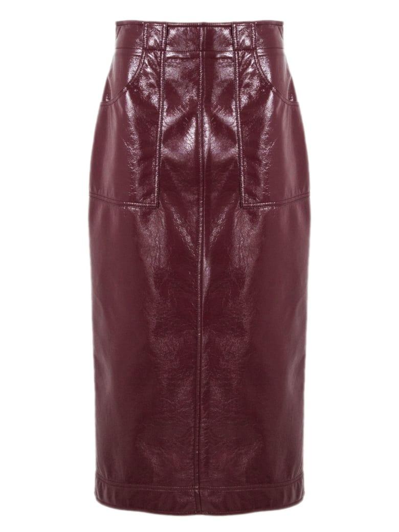 Philosophy di Lorenzo Serafini Bordeaux Faux Patent Leather Longuette Skirt - Bordo