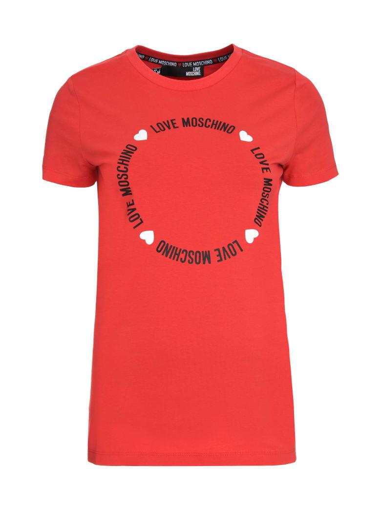 Love Moschino Logo Print Cotton T-shirt - red