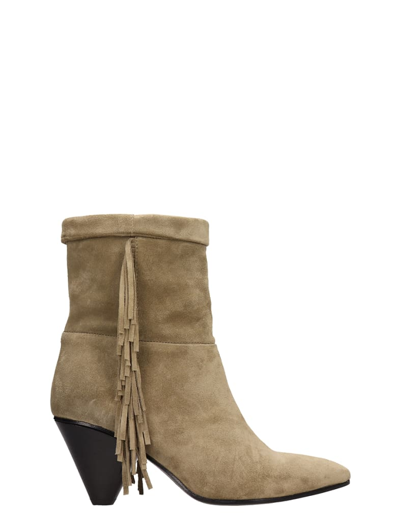 Janet & Janet Khaky Suede Leather Ankle Boots - khaki