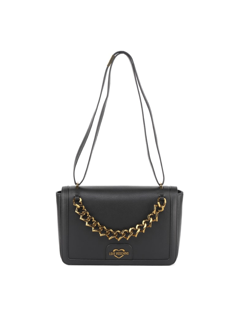 Love Moschino Black Hammered Faux Leather Bag With Hearts Chain - Black