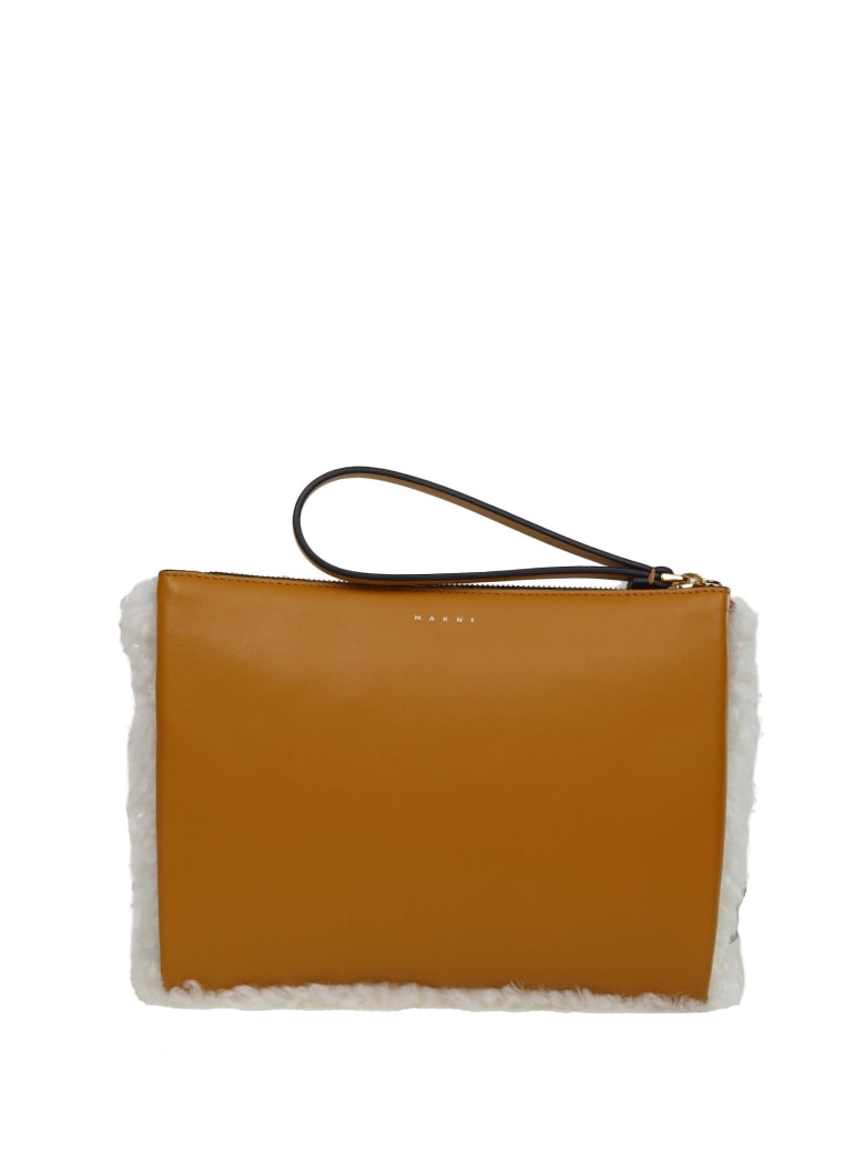 Marni Small Clutch Bag In Shearling In Natural And Honey Color - Bianco