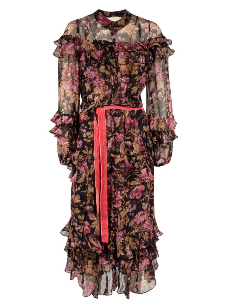 Zimmermann Lucky Tiered Frill Midi Dress - Midnight Floral