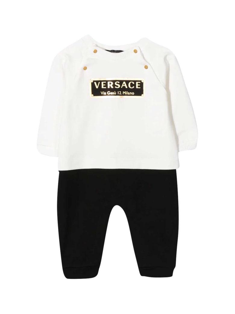 Young Versace Black And White Onesie - Bianco/nero