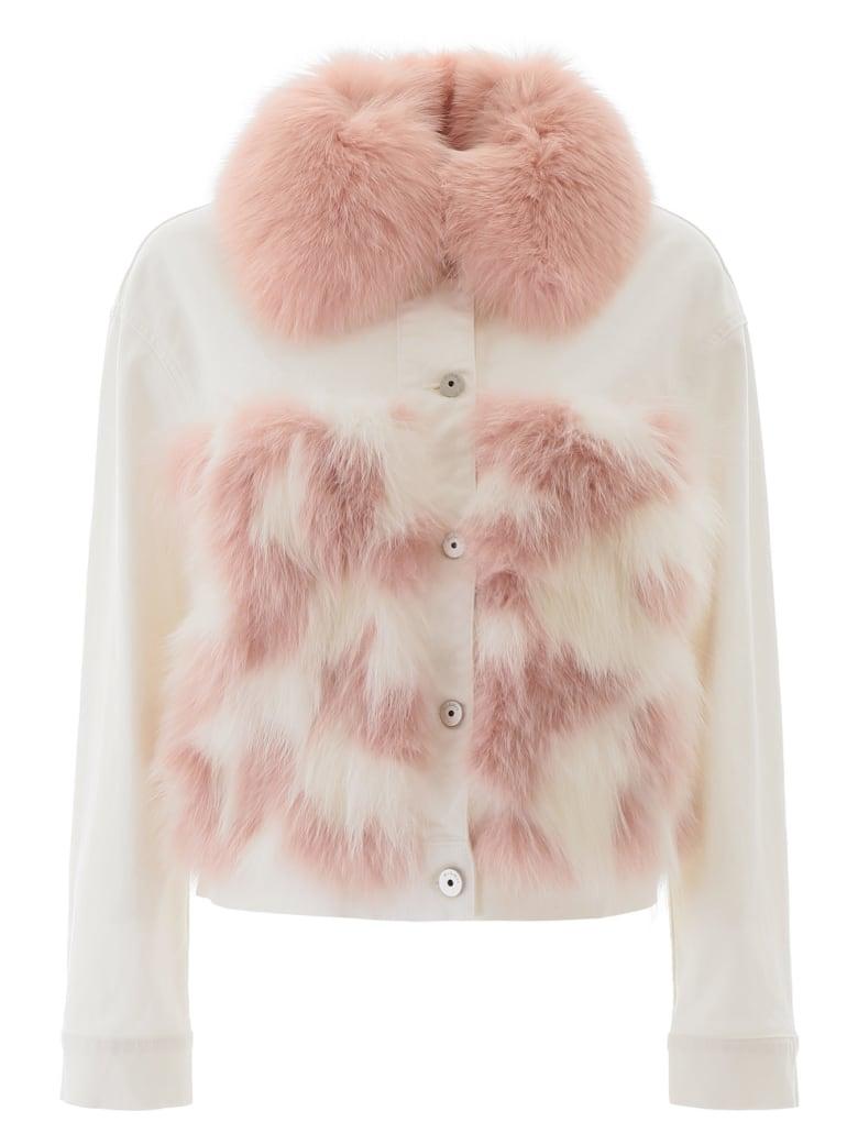 Mr & Mrs Italy Denim Jacket With Fur - WHIE WHITE PINK (White)