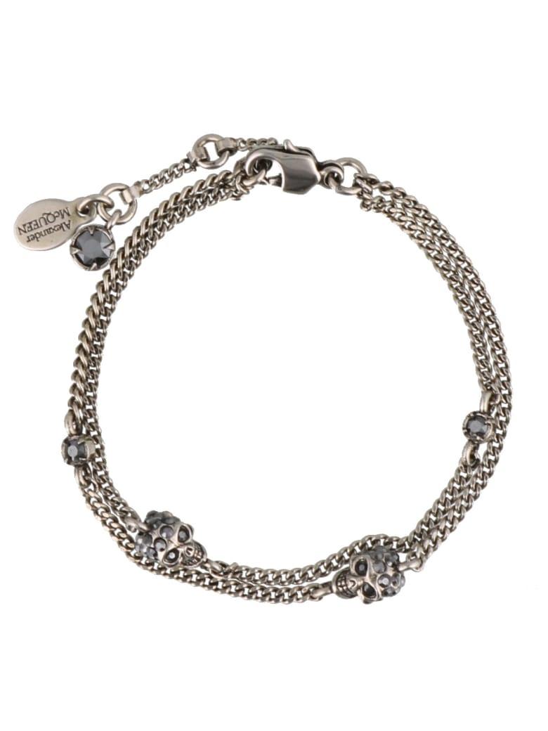 Alexander McQueen Multi Chain Skull Bracelet - Silver