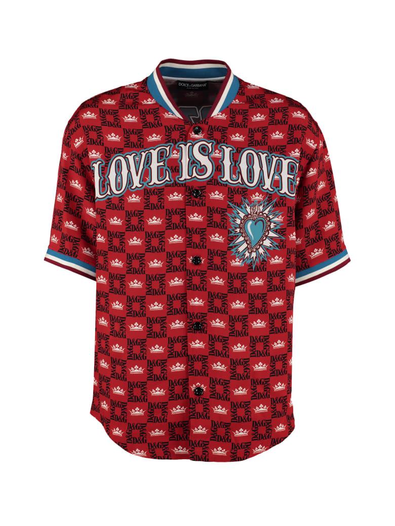 Dolce & Gabbana Short-sleeved Printed Silk Shirt - red