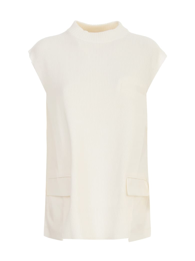 Sacai Suiting Pullover W/ribbed Bottom And Collar - Off White