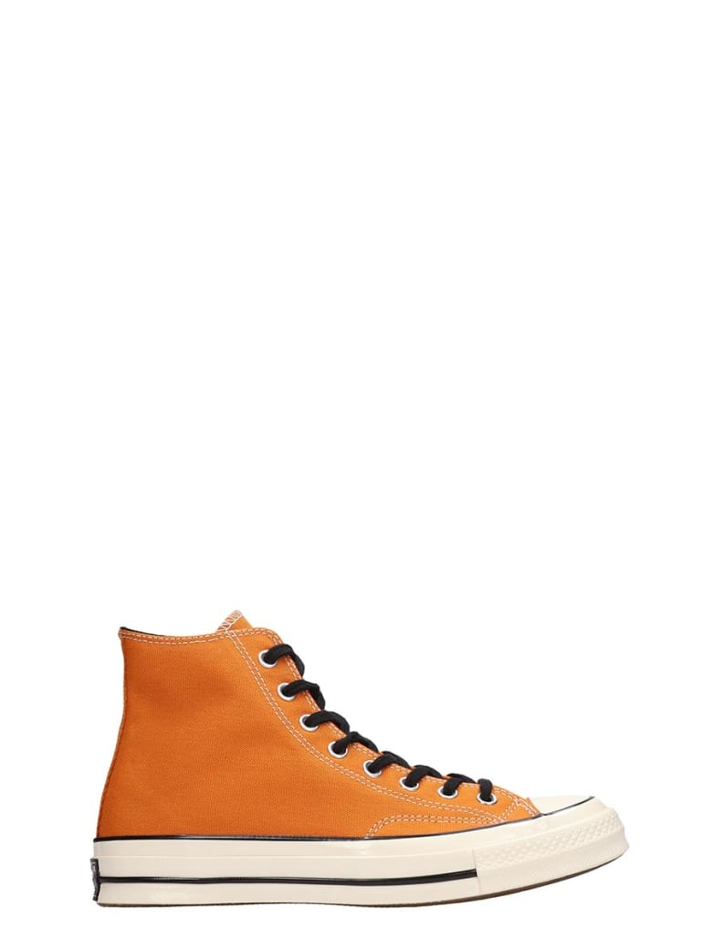 Converse Chuck 70 Hi Orange Canvas Sneakers - orange