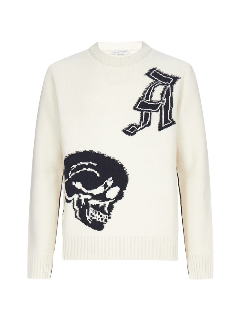 Alexander McQueen Skull-intarsia Lambswool Sweater - Ivory black