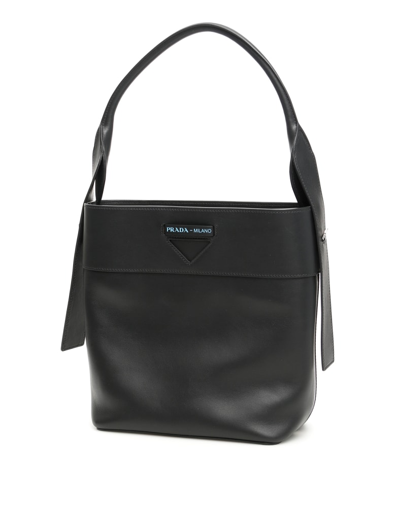 Prada Leather Ouverture Bag - NERO BIANCO (Black)