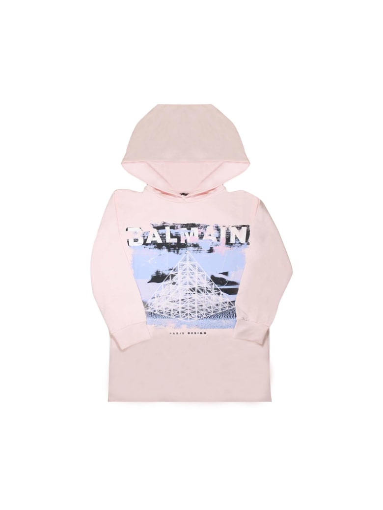 Balmain Pink Sweatshirt Dress Teen - Unica