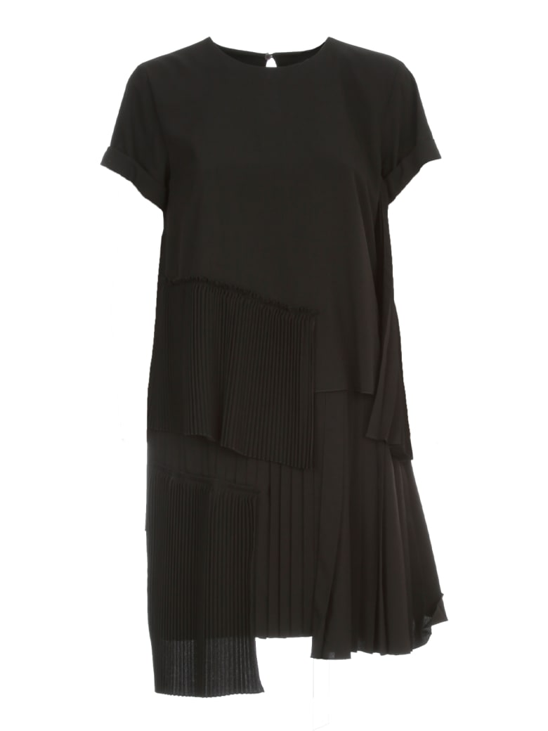 N.21 Pleated Dress Mini S/s W/flounce - Nero