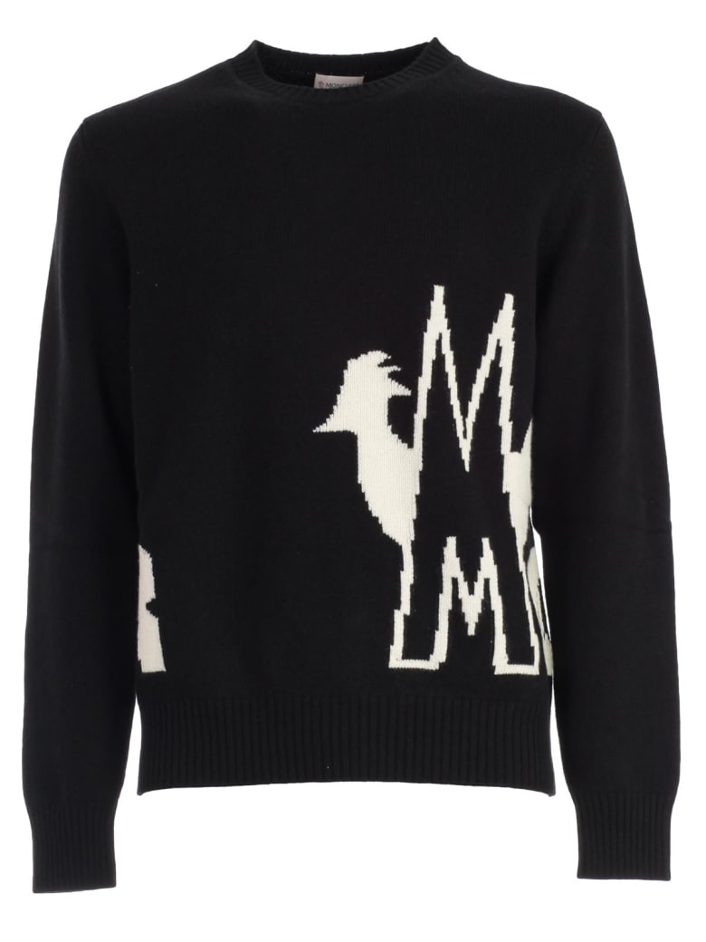 Moncler Sweater L/s Crew Neck W/nig Written - Black